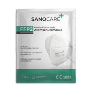 Vorderseite der Sanocare Plus FFP2 Atemschutzmaske