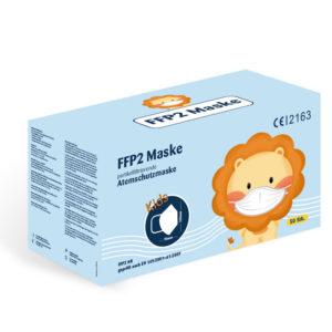 Box einer FFP2 Maske für Kinder. Inhalt 50 Masken.