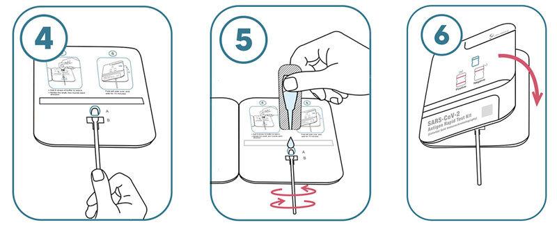 Lepu Laientest Anleitung 4-6 -Probenextrakt wird auf die Testkassette geträufelt